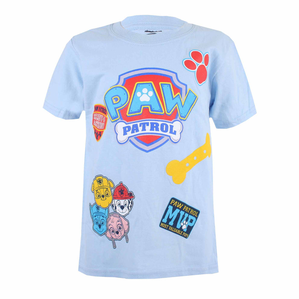 Paw Patrol Kids - Patch - T-Shirt - Light Blue - CLEARANCE