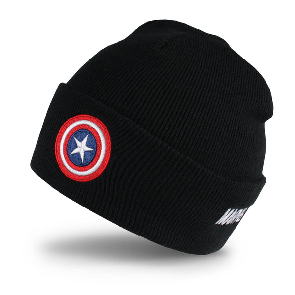 Marvel Mens - Captain America Shield - Beanie - Black