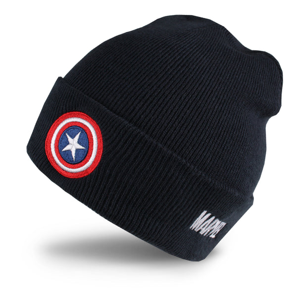 Marvel Mens - Captain America Shield - Beanie - Navy