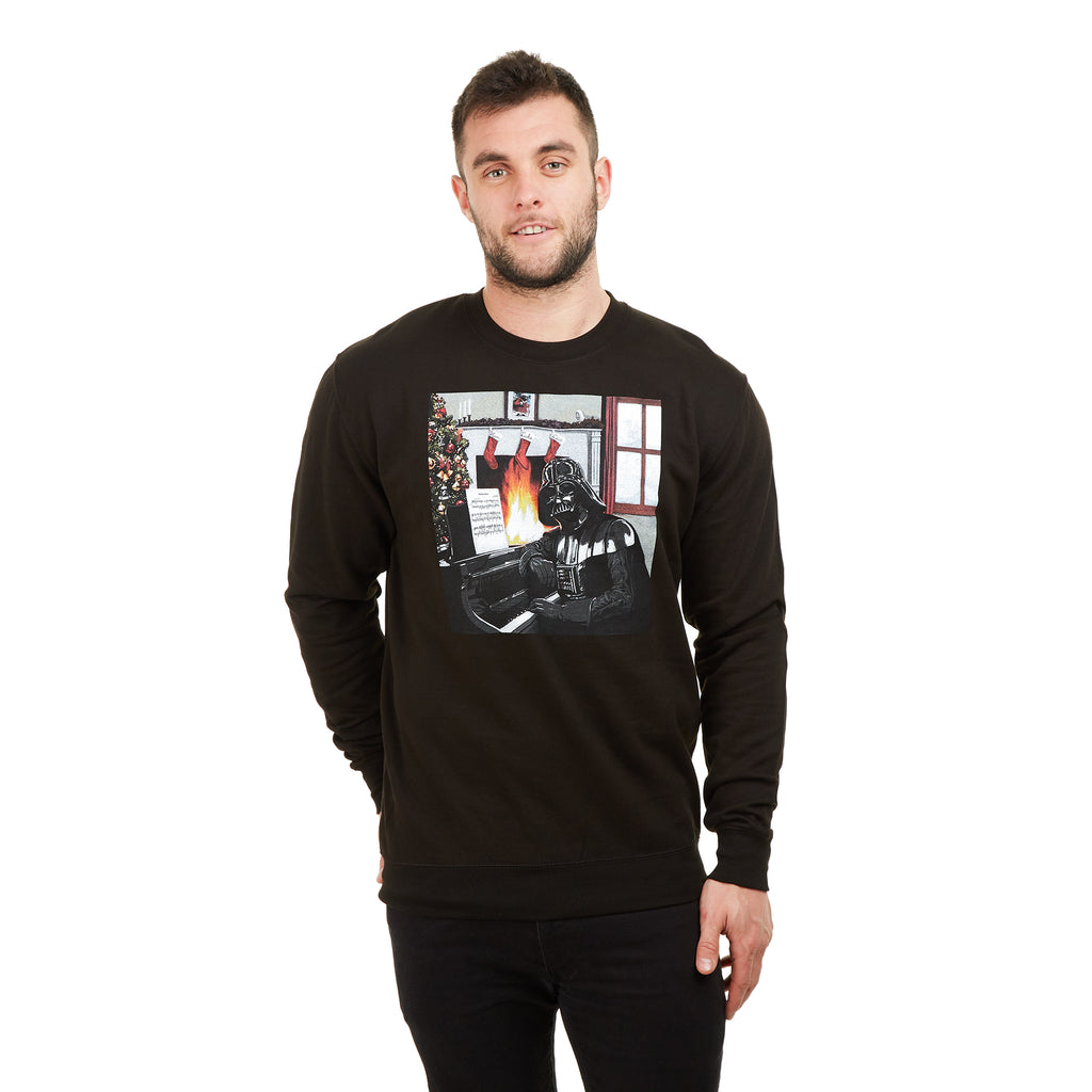 Star Wars Mens - Vader Piano - Crew Sweat - Black - CLEARANCE