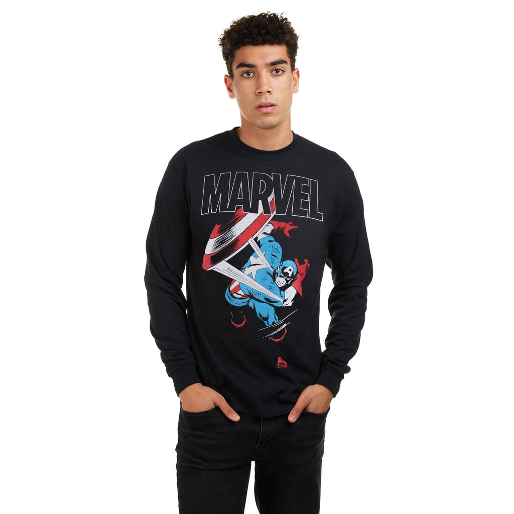 Marvel Mens - Captain America Strike - Crew Sweat - Black