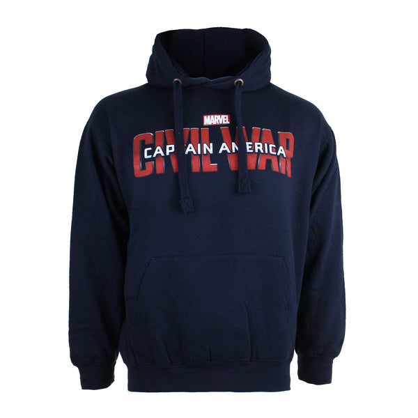 Marvel Mens Captain America Civil War Logo Pullover Hoodie - Navy