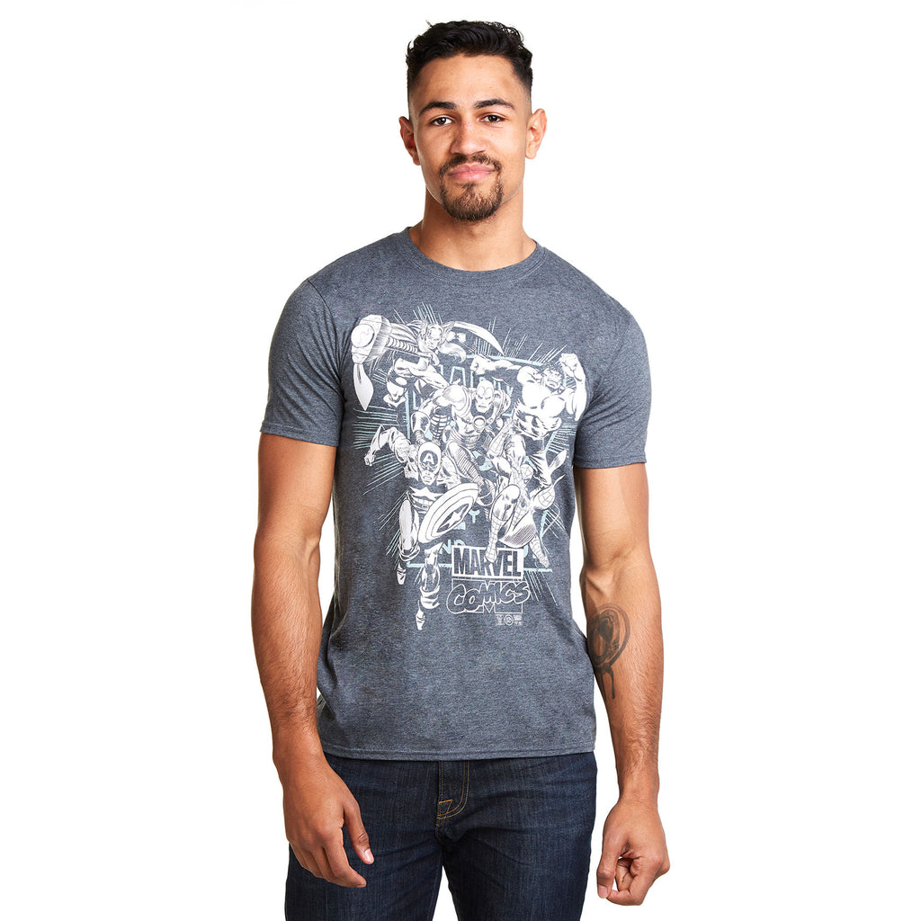 Marvel Mens - Band Of Heroes - T-Shirt - Dark Heather