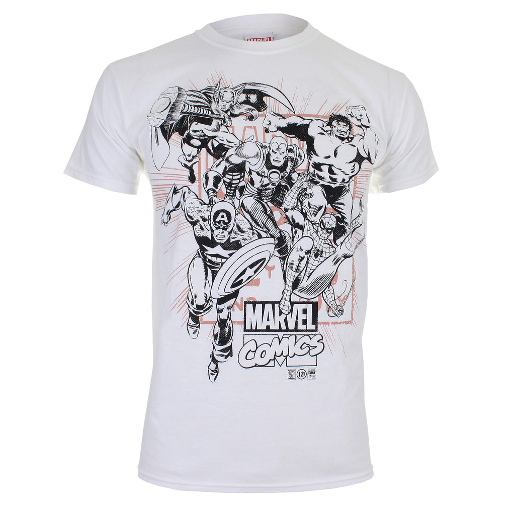 Marvel Mens Band Of Heroes T Shirt White