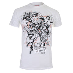 Marvel Comics Mens Band Of Heroes T-Shirt - White