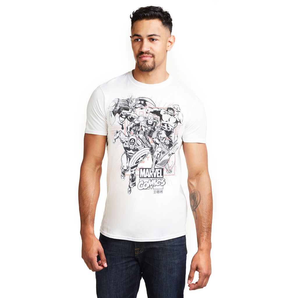 Marvel Mens - Band Of Heroes - T-Shirt - White