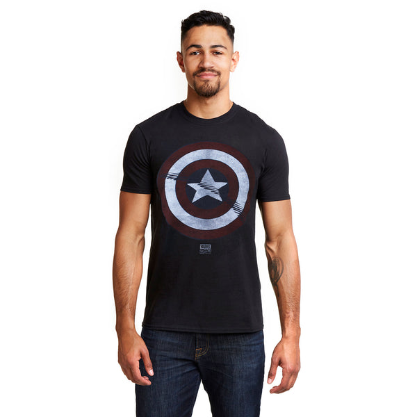 Marvel Mens - Captain America - Shield - T-Shirt - Black - CLEARANCE