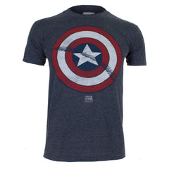 Marvel Comics Mens Captain America Shield T-Shirt - Heather Navy