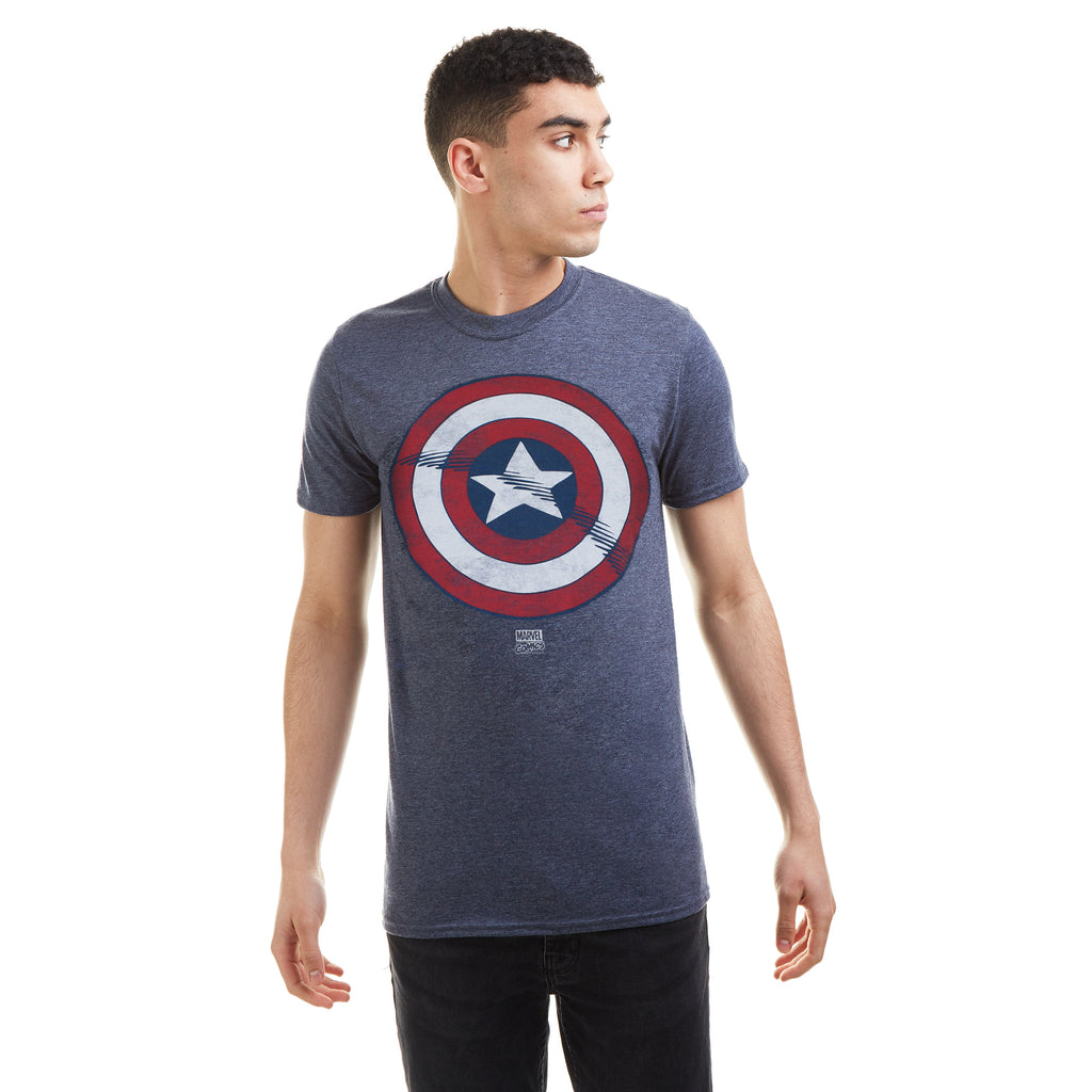 Marvel Mens - Captain America Shield - T-Shirt - Heather Navy