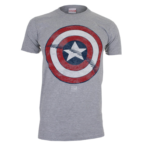 Marvel Comics Mens Captain America Shield T-Shirt - Grey Marl