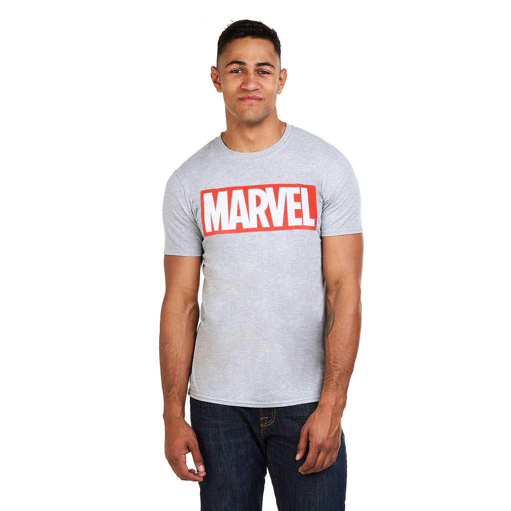 Marvel Mens - Core Logo - T-Shirt - Sports Grey - CLEARANCE