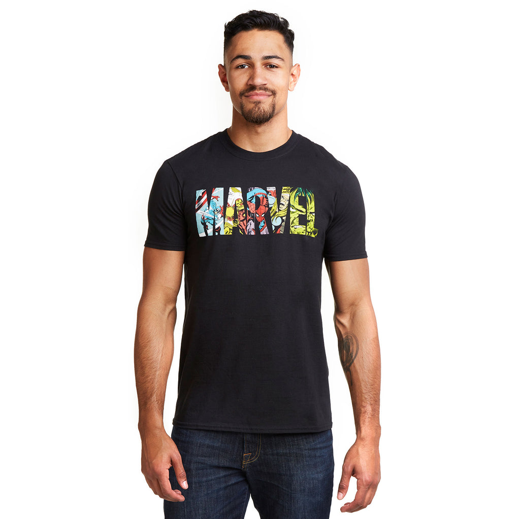 Marvel Mens - Comic Strip Logo - T-Shirt - Black
