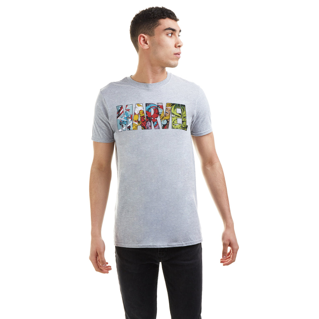 Marvel Mens - Comic Strip Logo - T-Shirt - Sport Grey