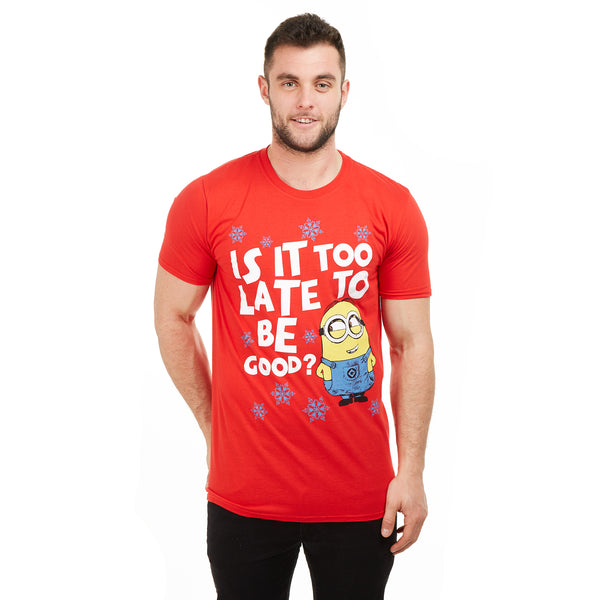 Minions Mens - Is It Too Late To Be Good? - T-Shirt - Red - CLEARANCE