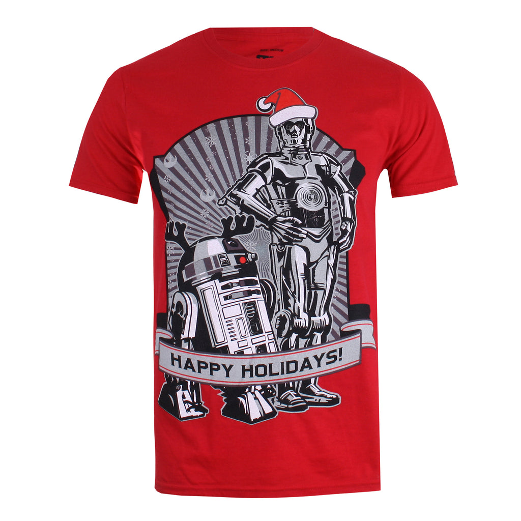 Star Wars Mens - Happy Holidays - T-shirt - Red - CLEARANCE