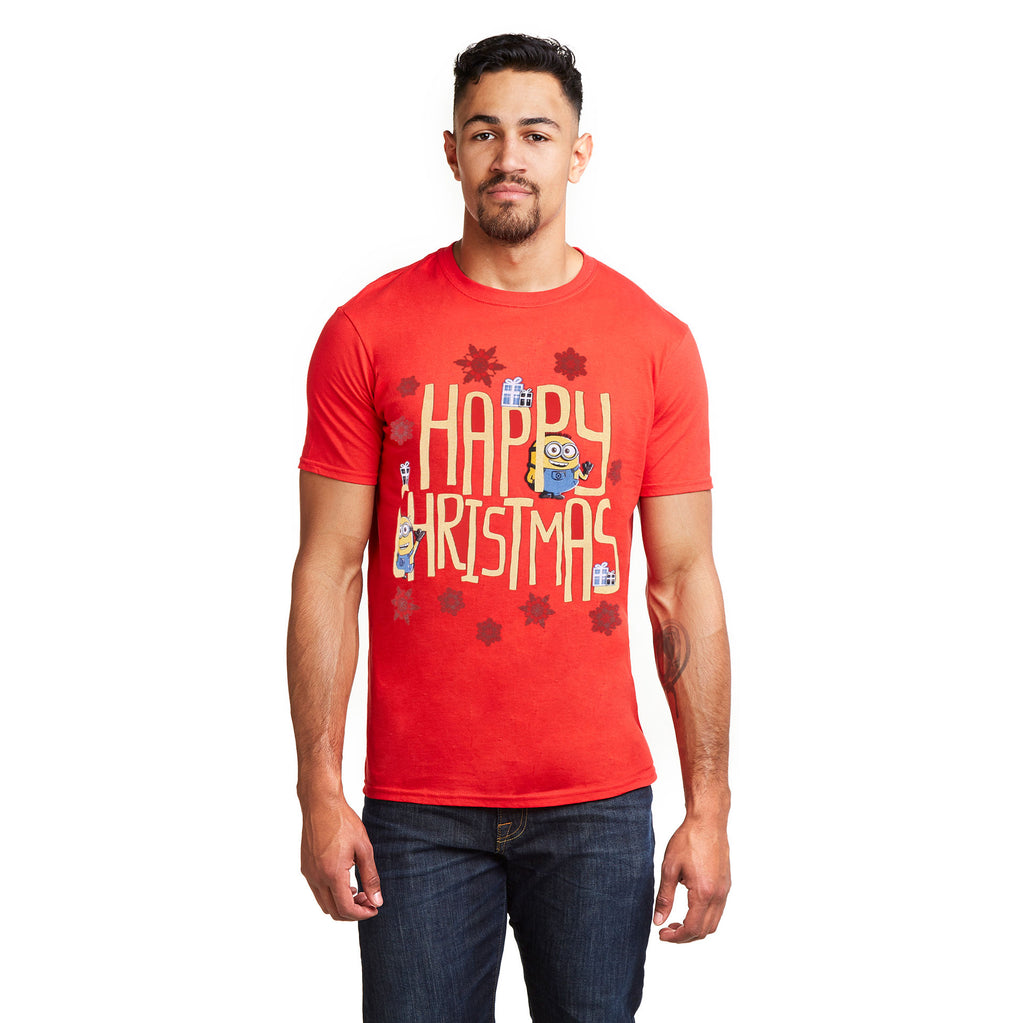 Minions Mens - Happy Christmas - T-Shirt - Red - CLEARANCE