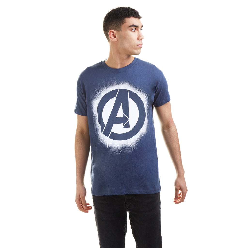 Marvel Mens - Stencil Logo - T-Shirt - Denim