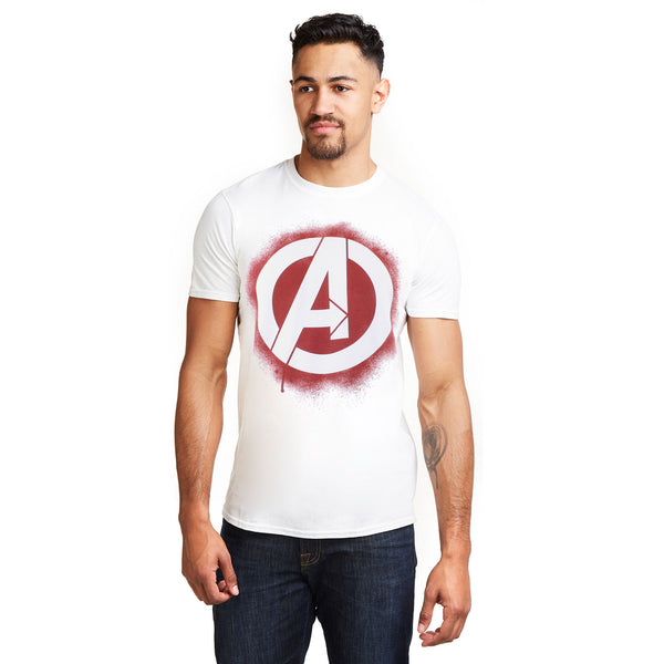 Marvel Mens - Stencil Logo - T-Shirt - White - CLEARANCE