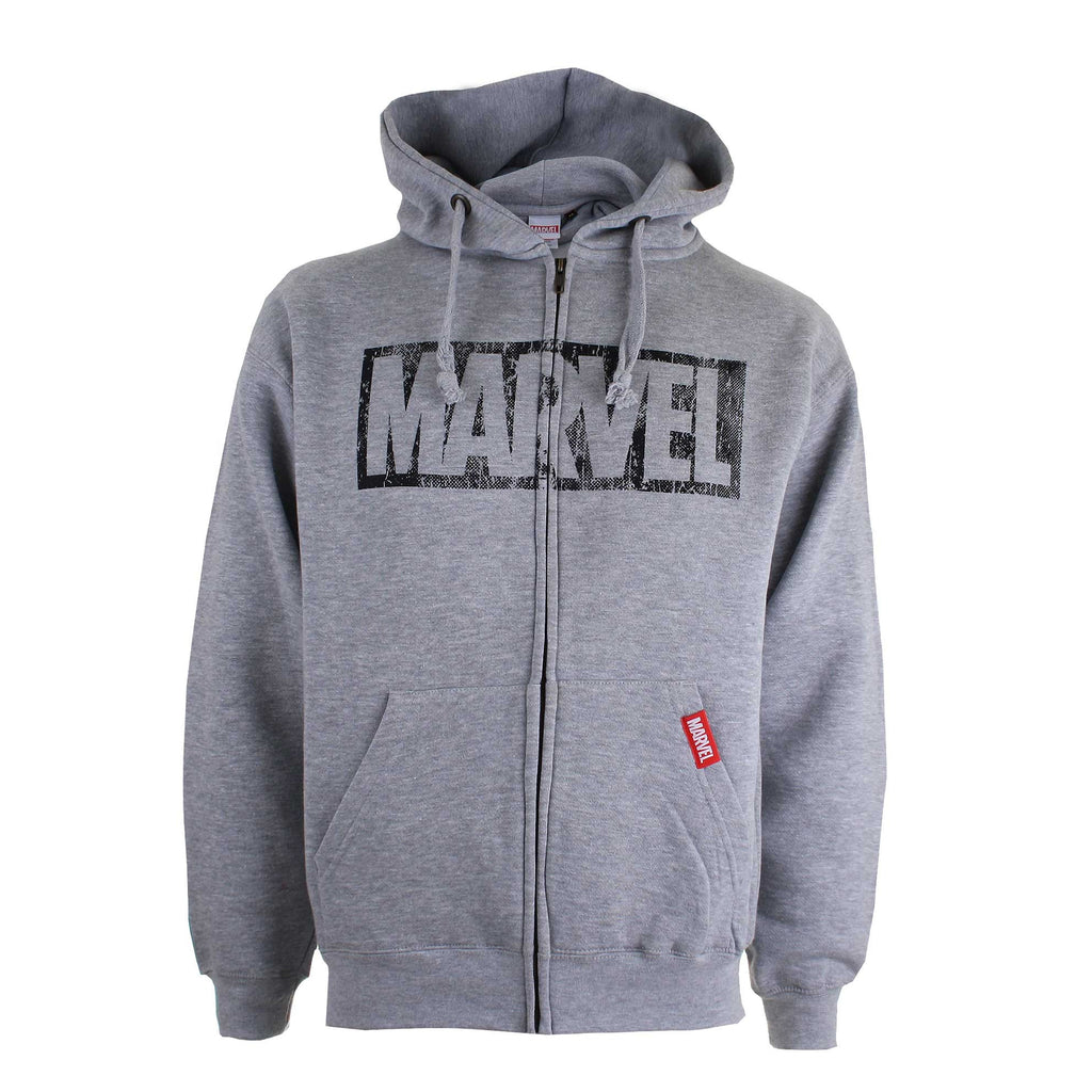 Marvel Mens Comics Logo Distress Zip Hoodie - Heather Grey