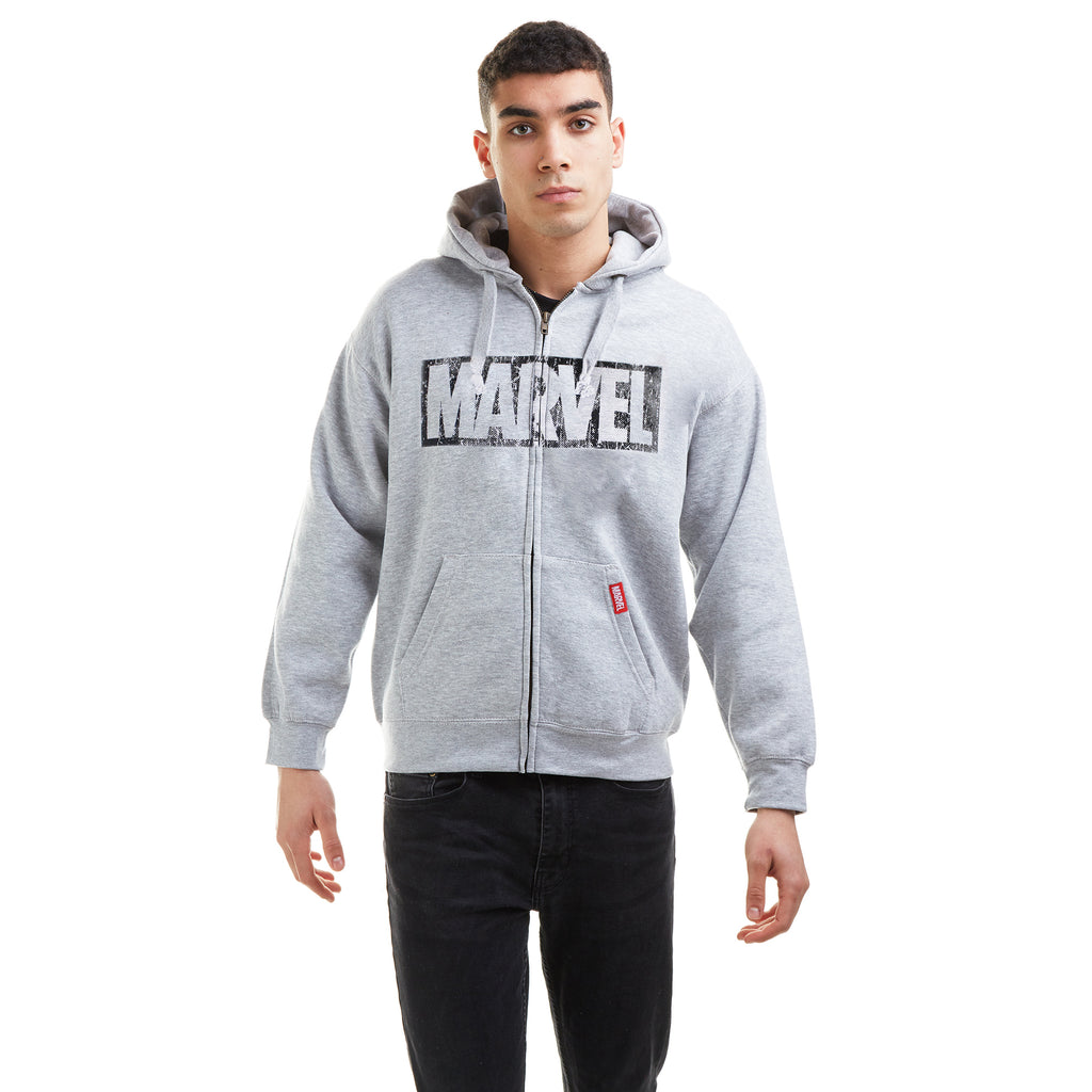 Marvel Mens - Logo Distress- Zip Hood - Heather Grey
