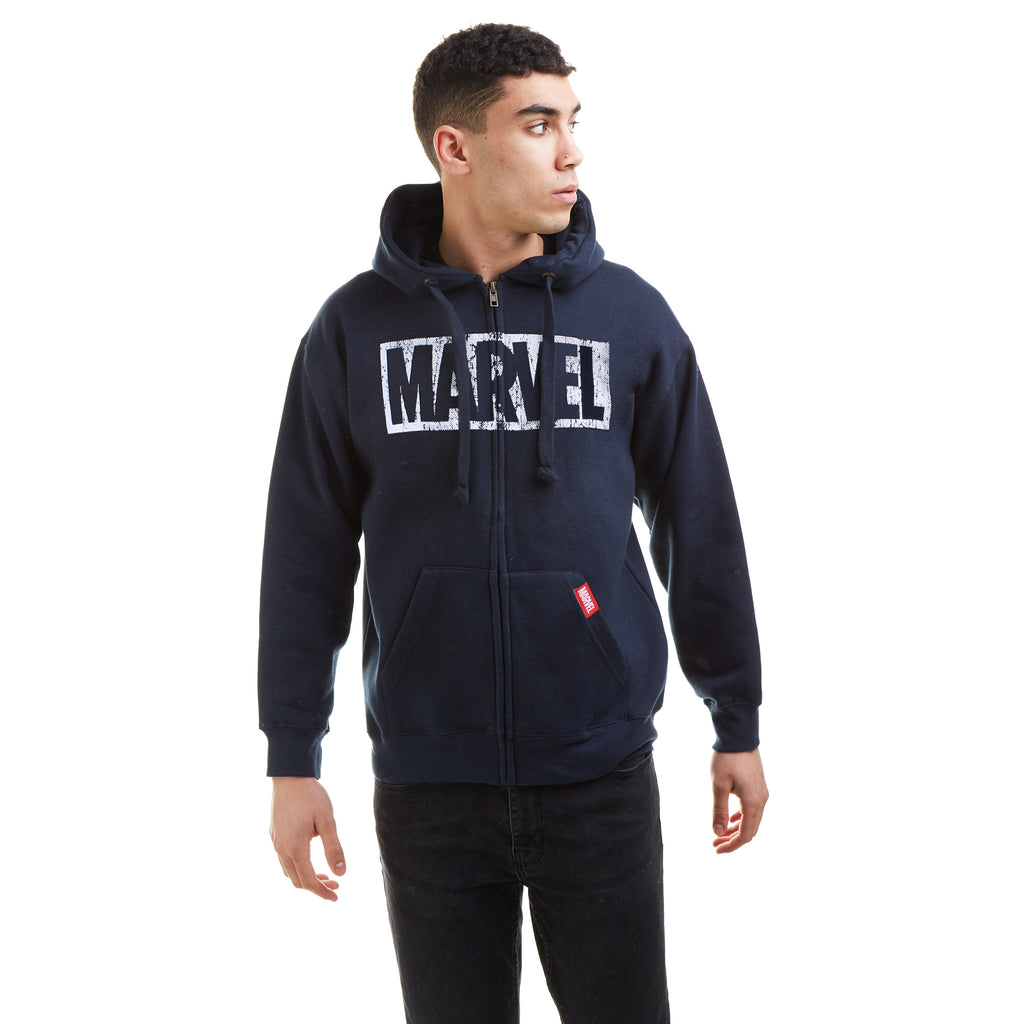 Marvel Mens - Logo Distress - Zip Hood - Navy