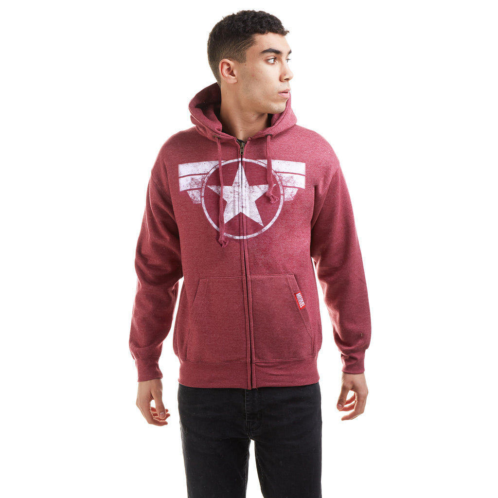 Marvel Mens - Cap Logo - Zip Hood - Wine Melange