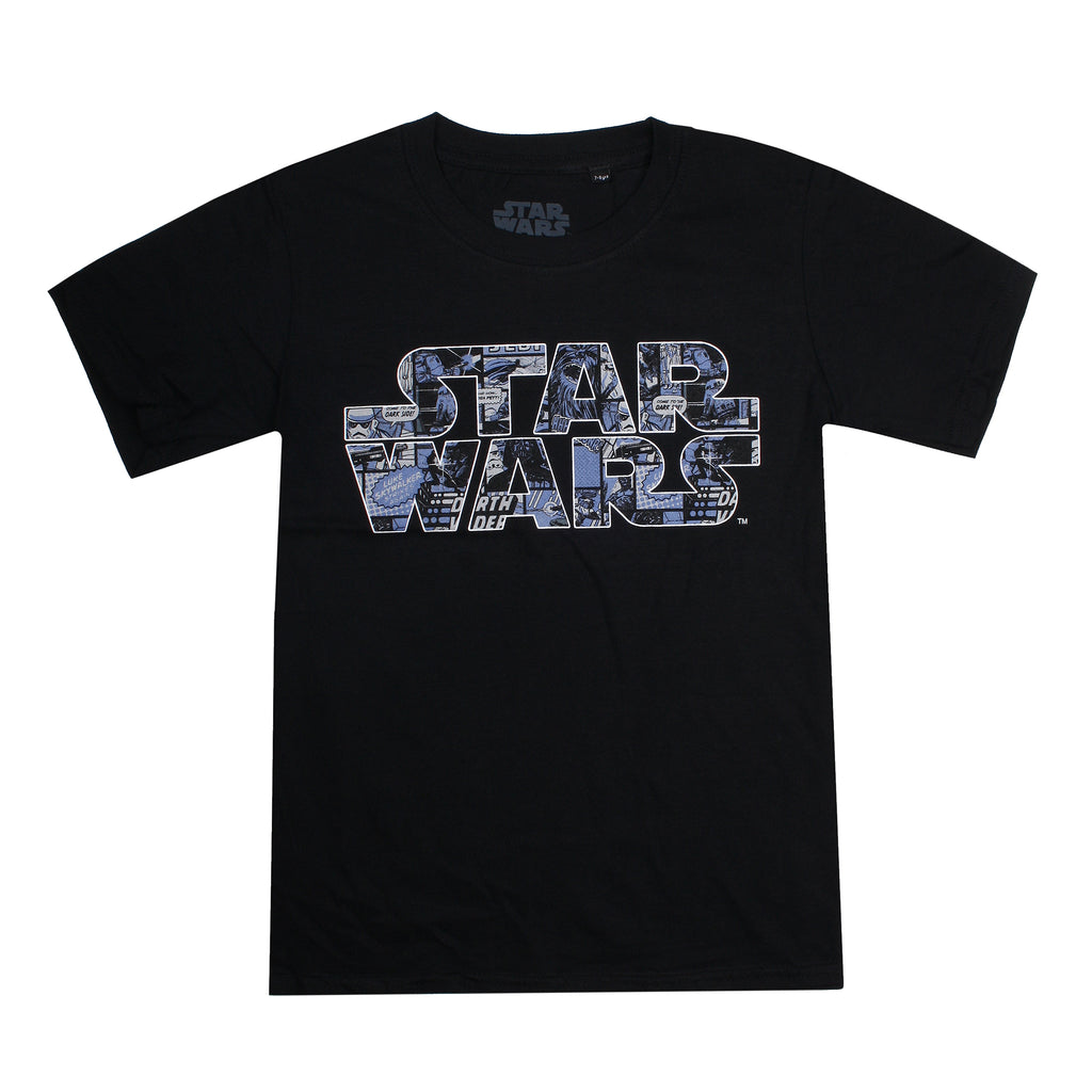 Star Wars Boys - Logo Comics - T-Shirt - Black