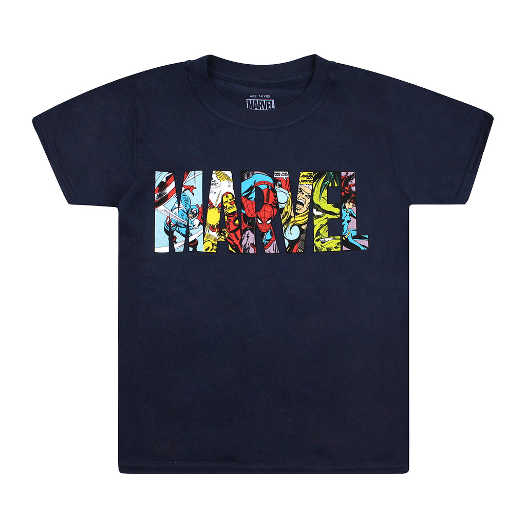 Marvel Kids - Logo Characters - T-shirt - Navy