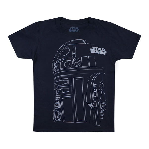 Star Wars Boys - R2D2 Outline - T-Shirt - Navy
