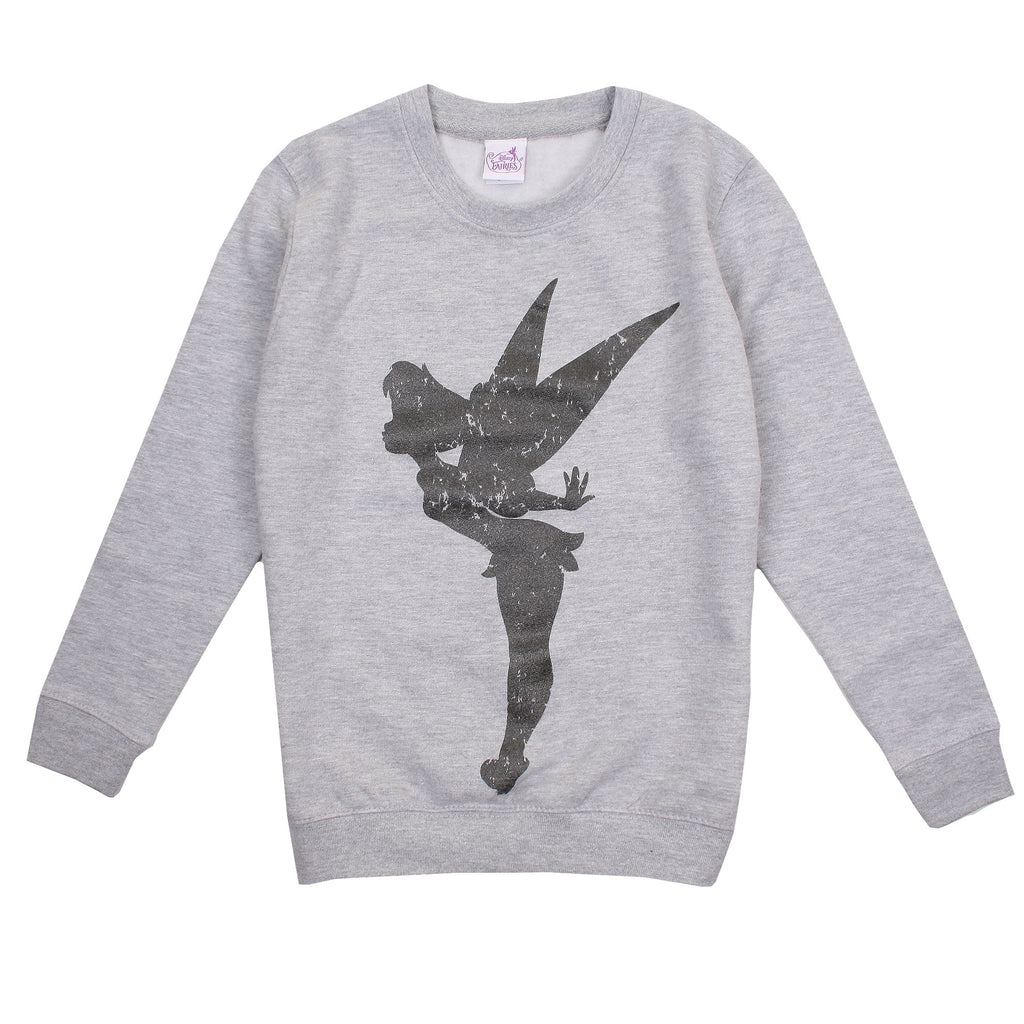 Disney Girls - Tinkerbell - Silhouette - Crew Sweat - Sport Grey - CLEARANCE