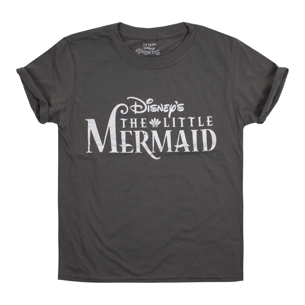 Disney Kids - Little Mermaid - Logo - T-shirt - Charcoal - CLEARANCE