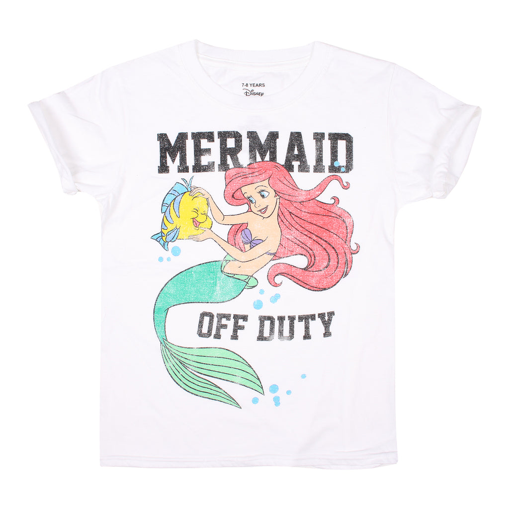Disney Girls - Little Mermaid - Off Duty - T-shirt - White - CLEARANCE