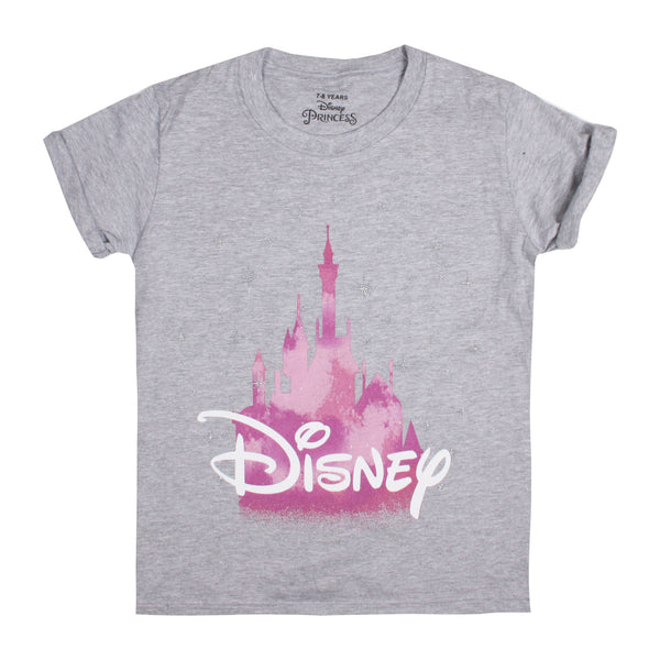 Disney Girls - Disney Castle - T-Shirt - Grey