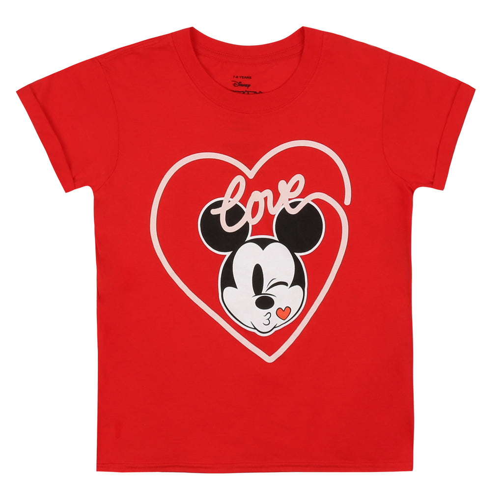 Disney Girls - Mickey Love Kiss - T-shirt - Red