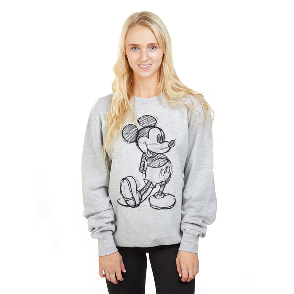 Disney Ladies - Mickey Sketch - Crew Sweat - Sport Grey