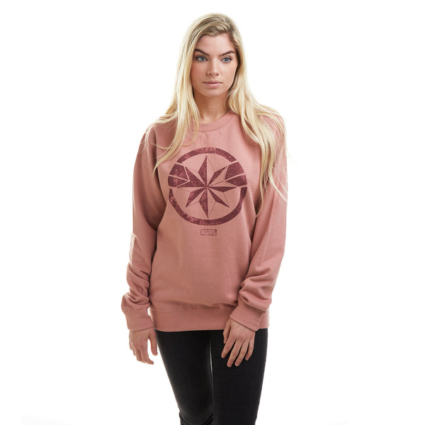 Marvel Ladies - Captain Marvel - Crew Sweat - Dusty Pink