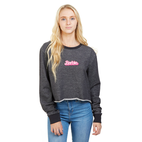 Barbie Ladies - Logo - Crop Crew Sweat - Dark Heather
