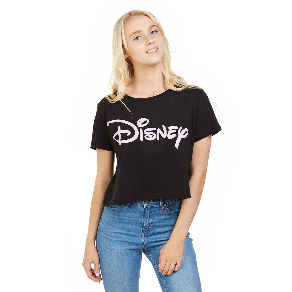 Disney Ladies - Plain Logo - Cropped T-Shirt - Black