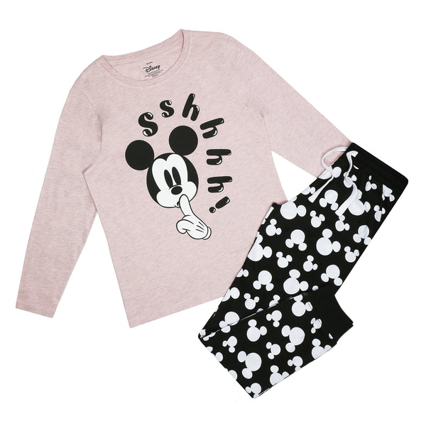 Disney Ladies - Mickey Shh - Long Sleep Set - Multi