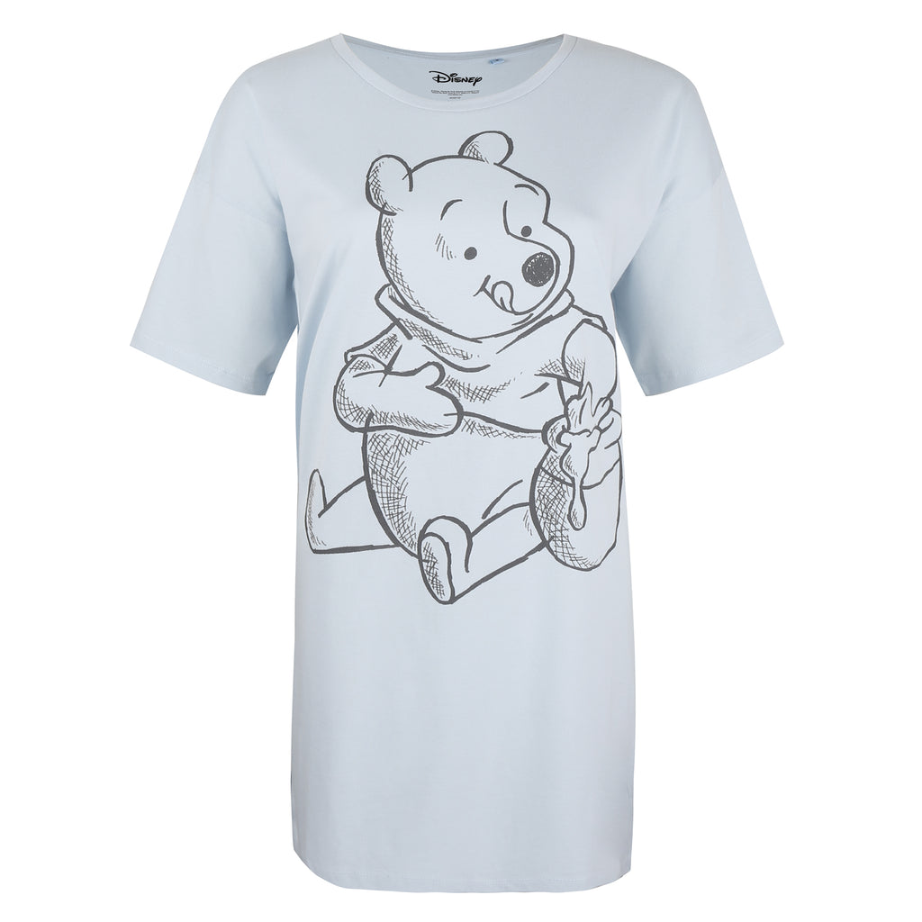 Disney Ladies - Winnie Sketch - Sleep T-shirt - Blue