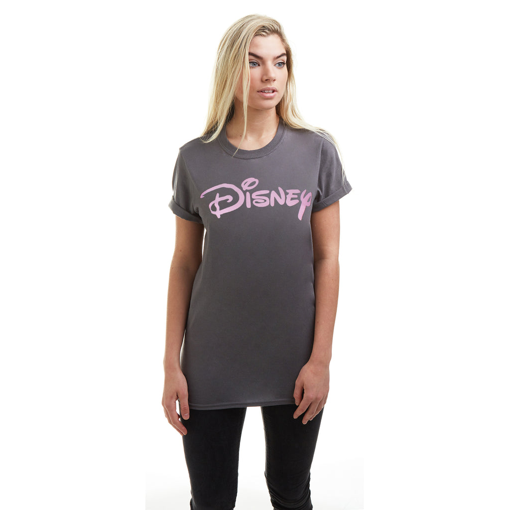 Disney Ladies - Disney Plain Logo - T-shirt - Charcoal