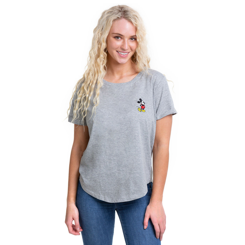 Disney Ladies - Mickey Pose - T-Shirt - Grey Heather
