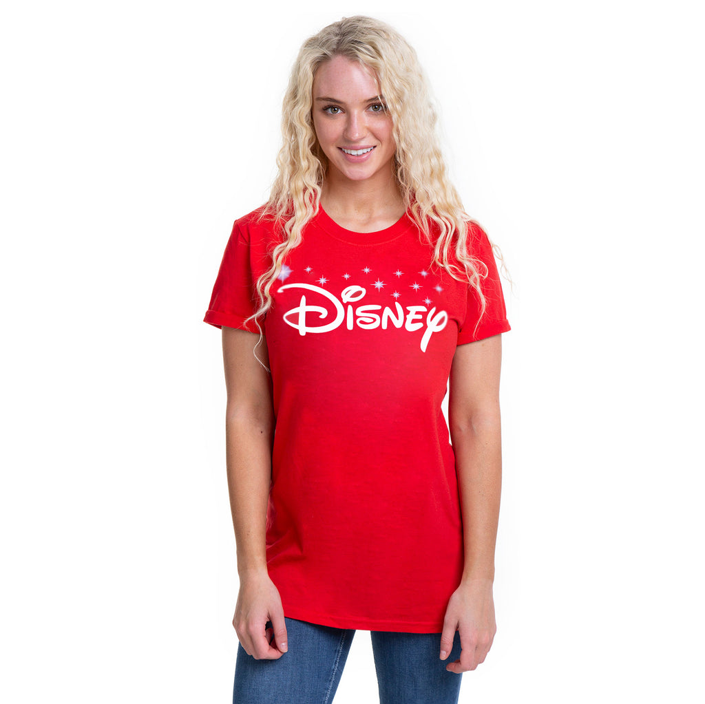 Disney Ladies - Disney Logo - T-shirt - Cardinal Red