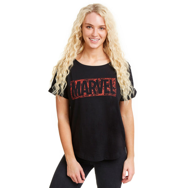 Marvel Ladies - Comic Logo - Fashion T-Shirt - Black