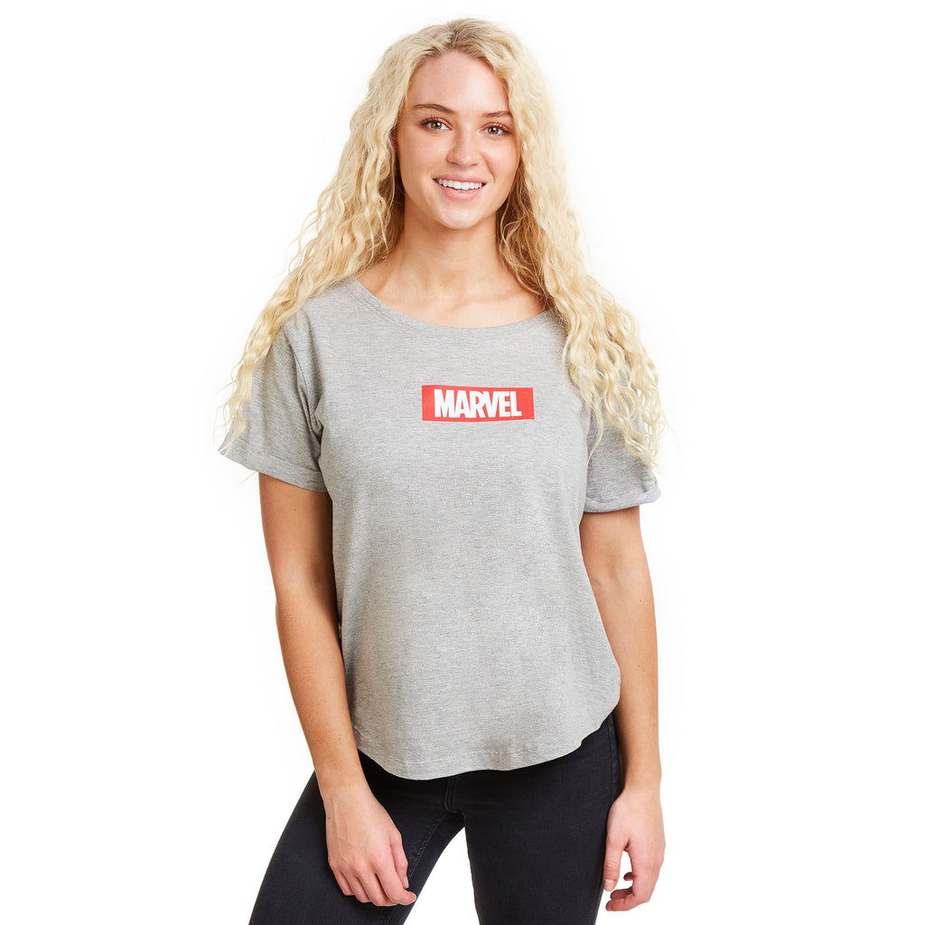 Marvel Ladies - Box Logo - Fashion T-Shirt - Sport Grey