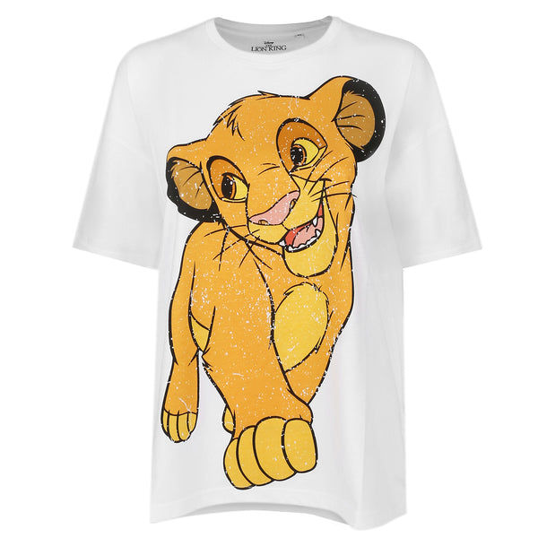 Disney Ladies - Simba Happy - Oversized T-Shirt - White