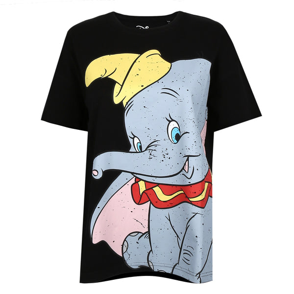 Disney Ladies - Dumbo Smile - Oversized T-Shirt - Black