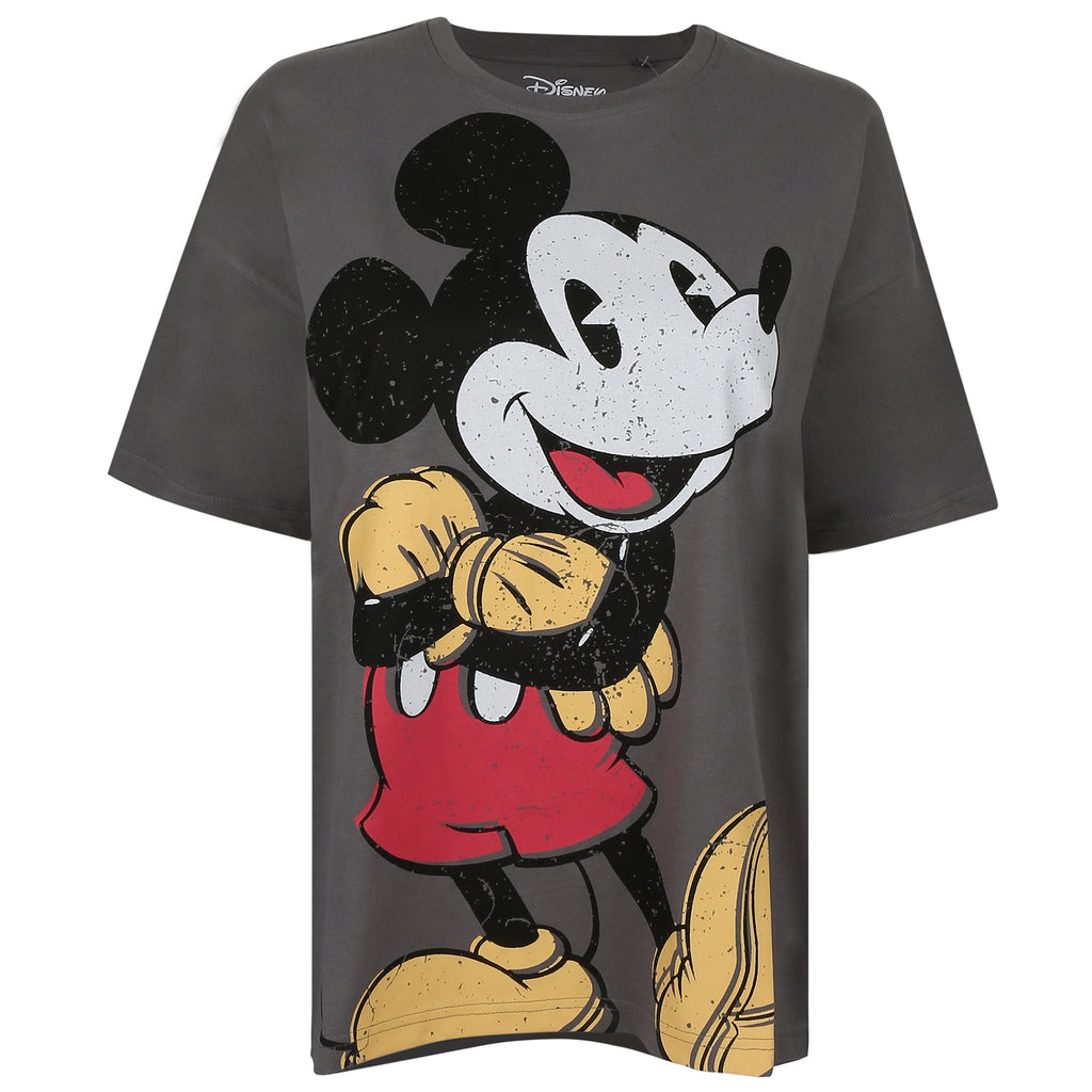 Disney Ladies - Mickey Happy - Oversized T-Shirt - Charcoal