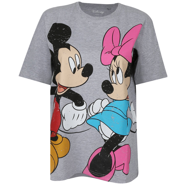Disney Ladies - Mickey and Minnie - Oversized T-Shirt - Heather Grey