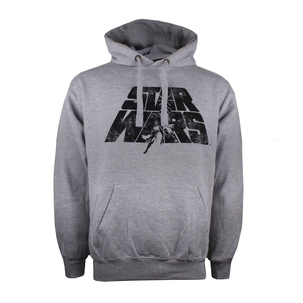 Star Wars - Retro Logo - Mens - Pullover Hood - Grey